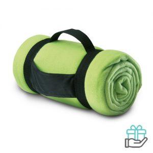 Fleece deken comfy limegroen bedrukken