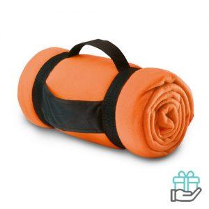 Fleece deken comfy oranje bedrukken