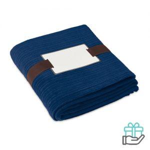 Fleece deken kwaliteit blauw bedrukken