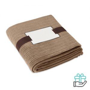 Fleece deken kwaliteit khaki bedrukken