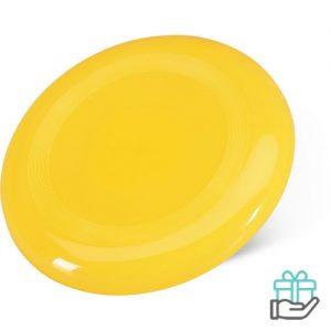 Frisbee strand geel bedrukken