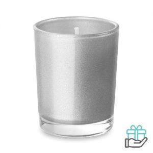 Geurkaarsje glas mat zilver bedrukken