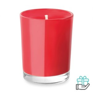 Geurkaarsje glas rood bedrukken