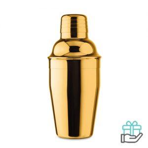 Glanzende cocktail shaker goud bedrukken
