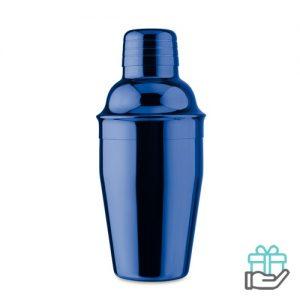 Glanzende cocktail shaker koninklijk blauw bedrukken
