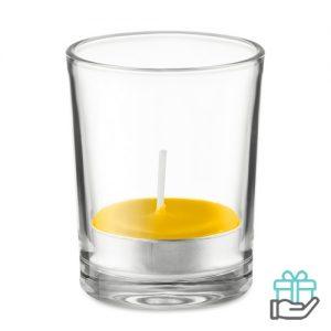 Glas theelichtje geur geel bedrukken