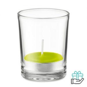 Glas theelichtje geur limegroen bedrukken