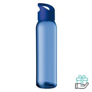 Glazen drinkfles koninklijk blauw bedrukken