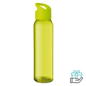 Glazen drinkfles limegroen bedrukken