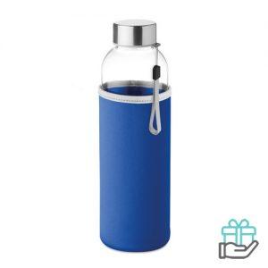 Glazen drinkfles neopreen tasje koninklijk blauw bedrukken