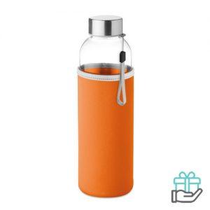 Glazen drinkfles neopreen tasje oranje bedrukken