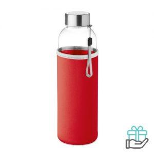 Glazen drinkfles neopreen tasje rood bedrukken