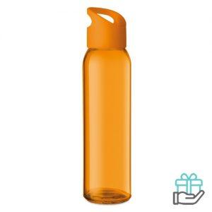 Glazen drinkfles oranje bedrukken