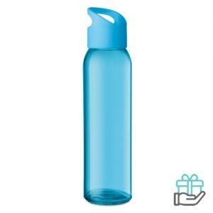 Glazen drinkfles turquoise bedrukken