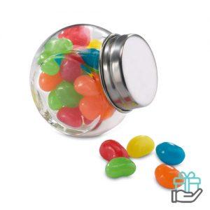Glazen snoeppot gevuld multikleur bedrukken