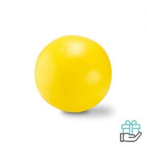 Grote opblaasbare strandbal geel bedrukken