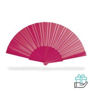 Handwaaier color roze bedrukken