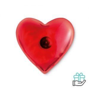 Handwarmer hartvorm rood bedrukken