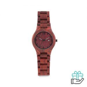 Houten horloge bruin bedrukken