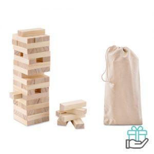 Houten toren spel houtkleur bedrukken