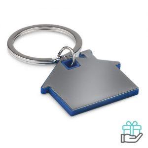 Huisvormige sleutelhanger koninklijk blauw bedrukken