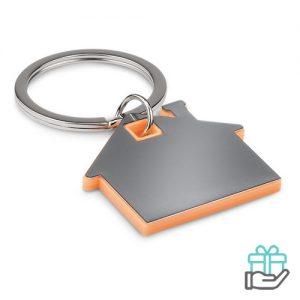 Huisvormige sleutelhanger oranje bedrukken