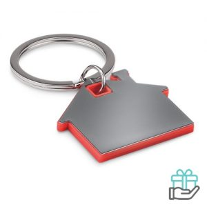 Huisvormige sleutelhanger rood bedrukken