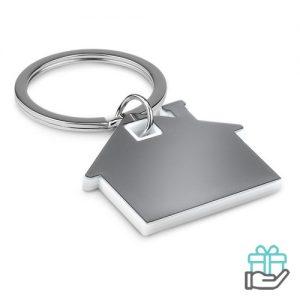 Huisvormige sleutelhanger wit bedrukken
