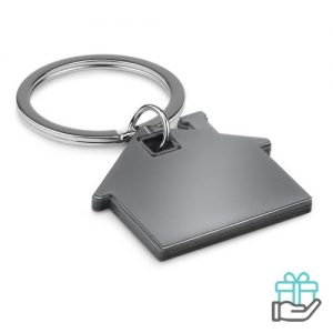 Huisvormige sleutelhanger zwart bedrukken