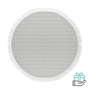 Katoenen hamamdoek rond grijs bedrukken