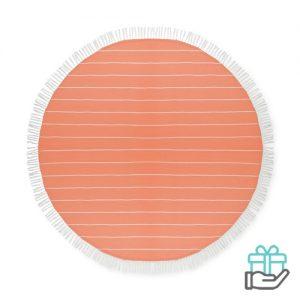 Katoenen hamamdoek rond oranje bedrukken