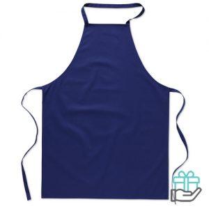 Katoenen keukenschort blauw bedrukken