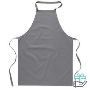 Katoenen keukenschort grijs bedrukken