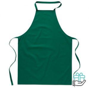 Katoenen keukenschort groen bedrukken
