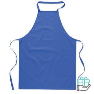 Katoenen keukenschort koninklijk blauw bedrukken
