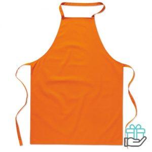 Katoenen keukenschort oranje bedrukken