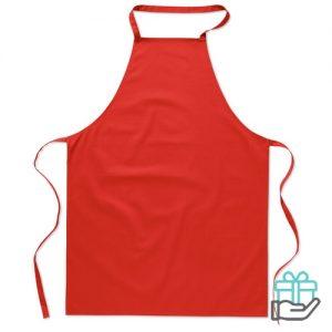 Katoenen keukenschort rood bedrukken