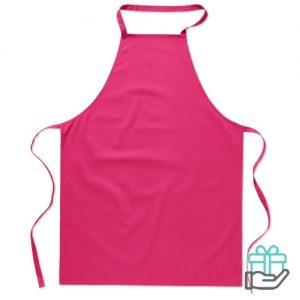 Katoenen keukenschort roze bedrukken
