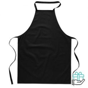 Katoenen keukenschort zwart bedrukken