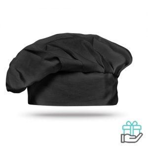 Katoenen koksmuts zwart bedrukken