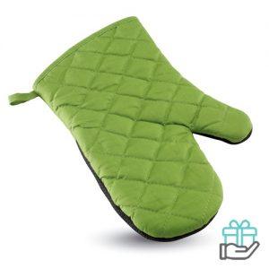 Katoenen ovenwant rubber groen bedrukken