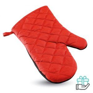 Katoenen ovenwant rubber rood bedrukken