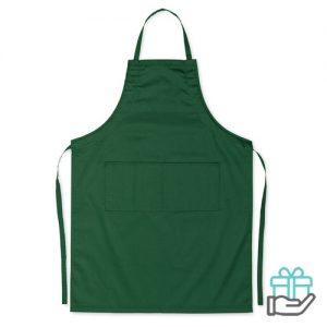 Keukenschort 2 voorzakken groen bedrukken