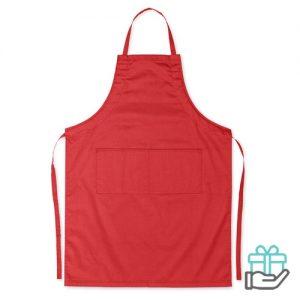 Keukenschort 2 voorzakken rood bedrukken