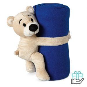 Kinderfleece deken beer blauw bedrukken