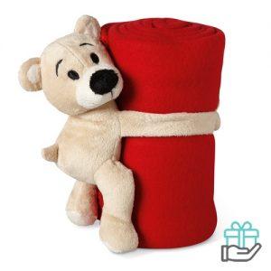 Kinderfleece deken beer rood bedrukken