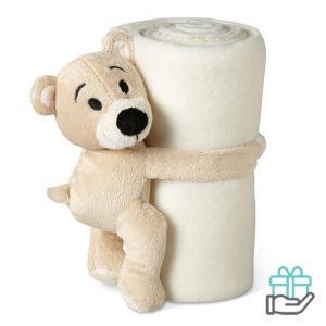 Kinderfleece deken beer wit bedrukken