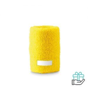 Klassieke pols zweetband geel bedrukken