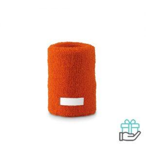 Klassieke pols zweetband oranje bedrukken