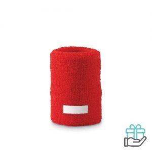 Klassieke pols zweetband rood bedrukken